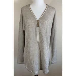 Soft Surroundings Knit Long Sleeve w Gold Zipper